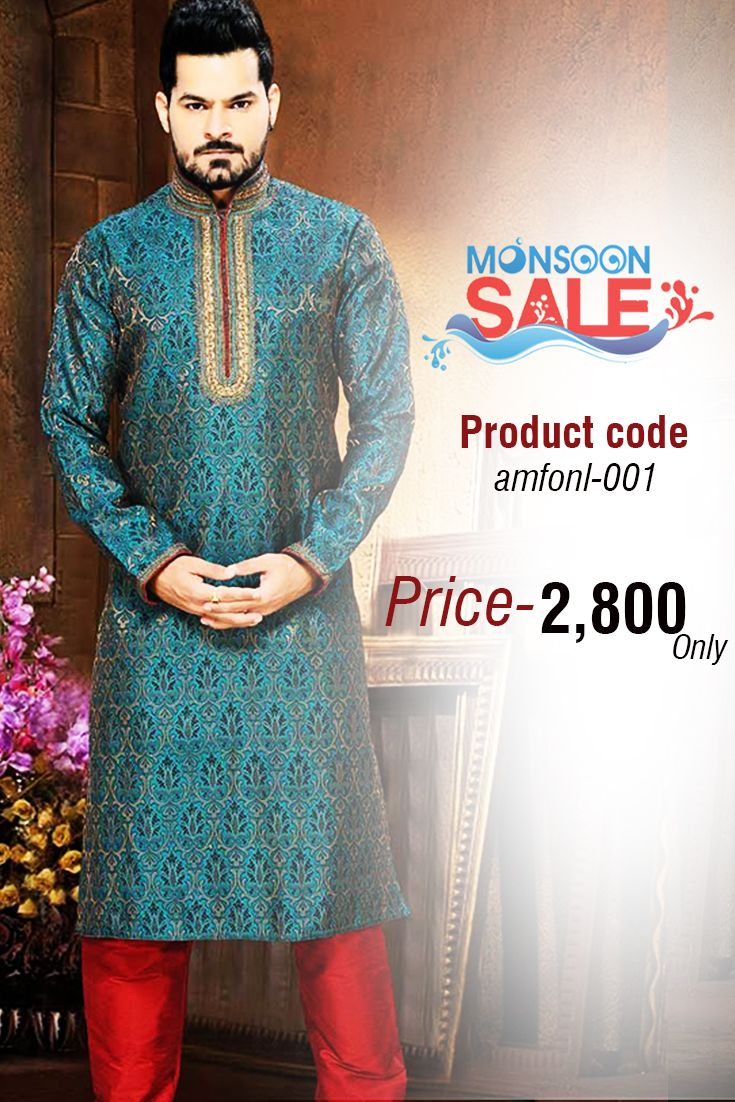 This Blue Jacquard silk ready made kurta pajama designed with elegant print, resham and patch border work and having a gold mix of color to give a rich pattern and elegant look