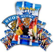 suomen jääkiekkoliiton virallinen makeispussi -  Molemmat pussikoot käy  Ykkösketju 270 g  Ykkösketju 180 g