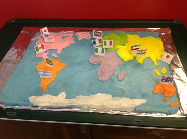 Make a world map cake and have kids add country flags to the right continent.