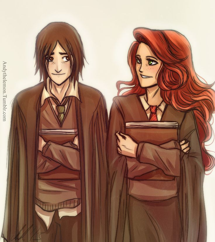 A commission for Beth who asked for Snape and Lily as friends. I forgot how much I like drawing Lilys hair 3