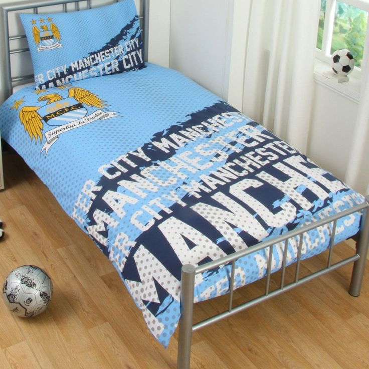 Manchester City Fc Impact Single Duvet Cover And Pillowcase Set Official Bedding