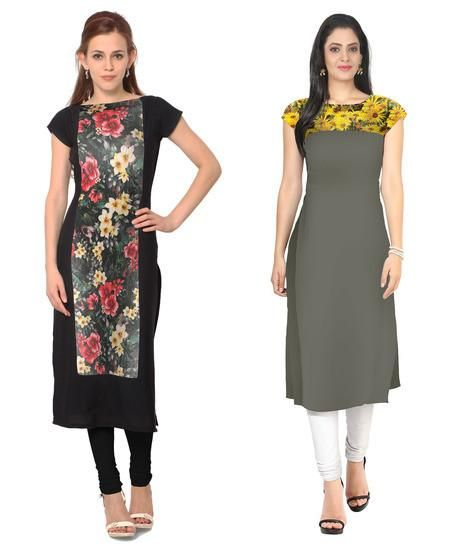 LadyIndia.com # Kurtas, Fabulous Crepe Multicolor Kurti For Women, Kurtis, Kurtas, Cotton Kurti, https://ladyindia.com/collections/ethnic-wear/products/fabulous-crepe-multicolor-kurti-for-women