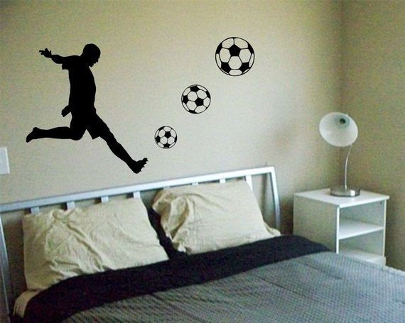 Soccer Player Decal Sticker Wall cool sports futbol boy girl nice modern nusery. $40.00, via Etsy.