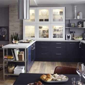 meuble de cuisine bleu delinia topaze leroy merlin maison pinterest meuble de cuisine. Black Bedroom Furniture Sets. Home Design Ideas