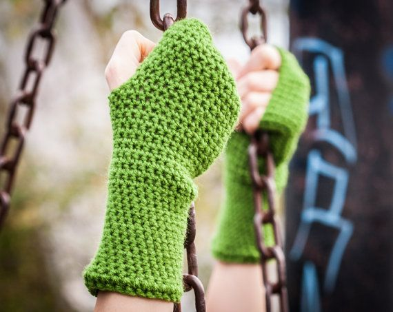 Olive Green Fingerless Gloves / Green Crochet Arm by RUKAMIshop