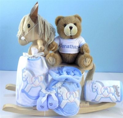 35 best rocking horse toy rockers images on pinterest baby baby boy gifts personalized natural rocking horse gift set for baby boy negle Image collections