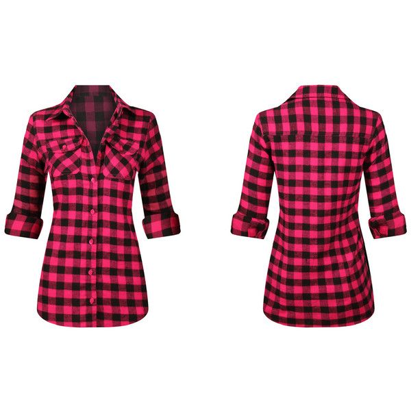 Women's Ladies Long Sleeve Button Down Plaid Flannel Shirt Large... ($25) ❤ liked on Polyvore featuring tops, pink, tops & tees, flannel shirt, pink plaid shirts, pink button up shirt, long sleeve tops and plaid flannel shirt