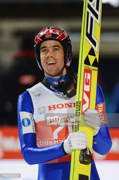 Anders Bardal of Norway reacts after competing in the qualification round on day 1 of the Four Hills Tournament Ski Jumping event at...