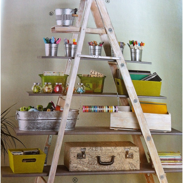 Cute use for an old ladderOld Ladder
