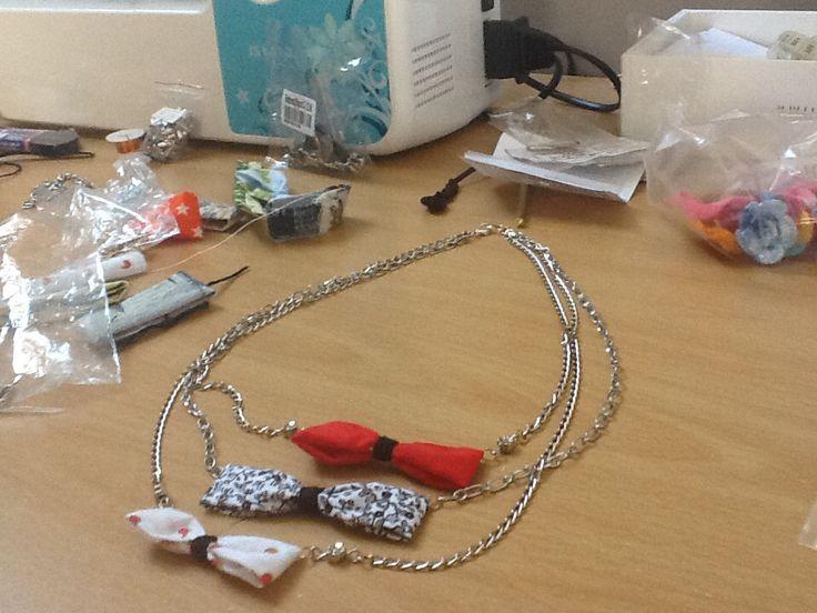 Bow necklace. Final piece coming soon! By Da Chita. Facebook.com/DaChita.11