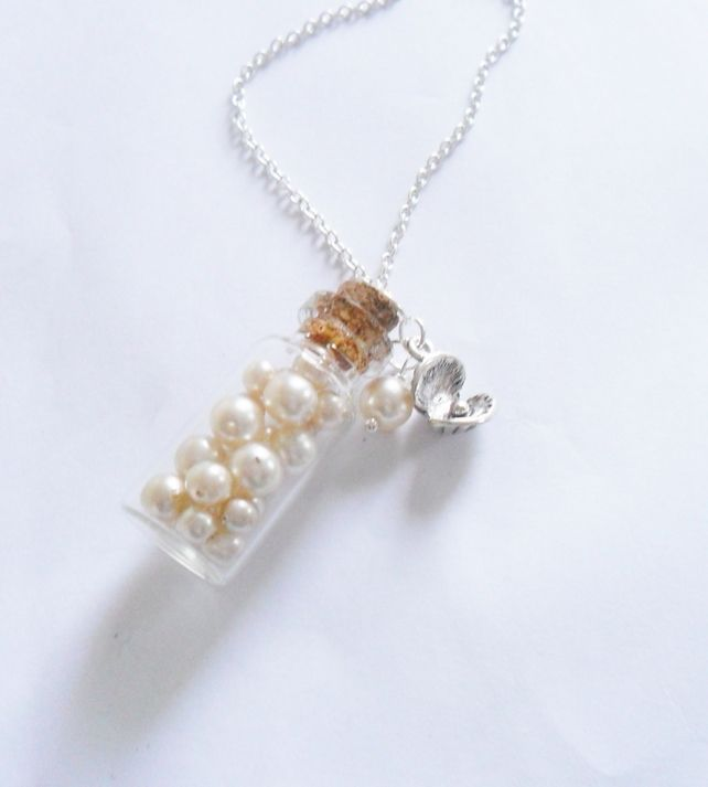 Mermaids Treasure Pearl Glass Bottle Necklace £12.00
