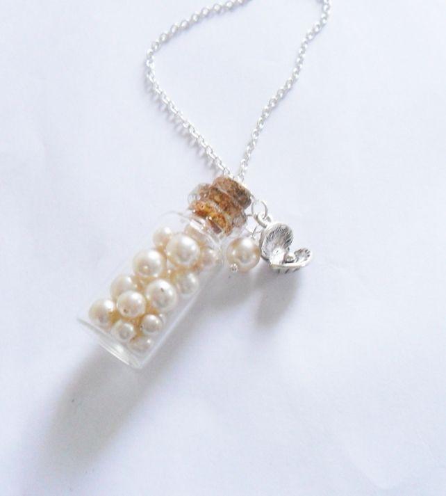 Mermaids Treasure Pearl Glass Bottle Necklace £12.00