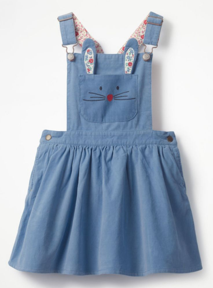 Corduroy Bunny Rabbit Pinafore Dress #easteroutfit