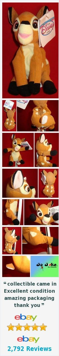 "DISNEY-BAMBI- BEAN PLUSH-7""-BIG EYES-SPOTTED BACK-COOL EAR-DISNEY STORE-NEW/TAGS"