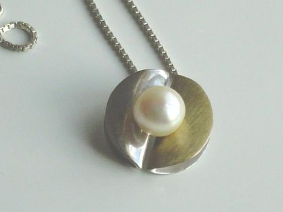 Modernist Sterling Silver Pearl Pendant Mid Century Modern Silver and Brushed Gold Pendant Huge Real Pearl Minimalist Design  925 1960s