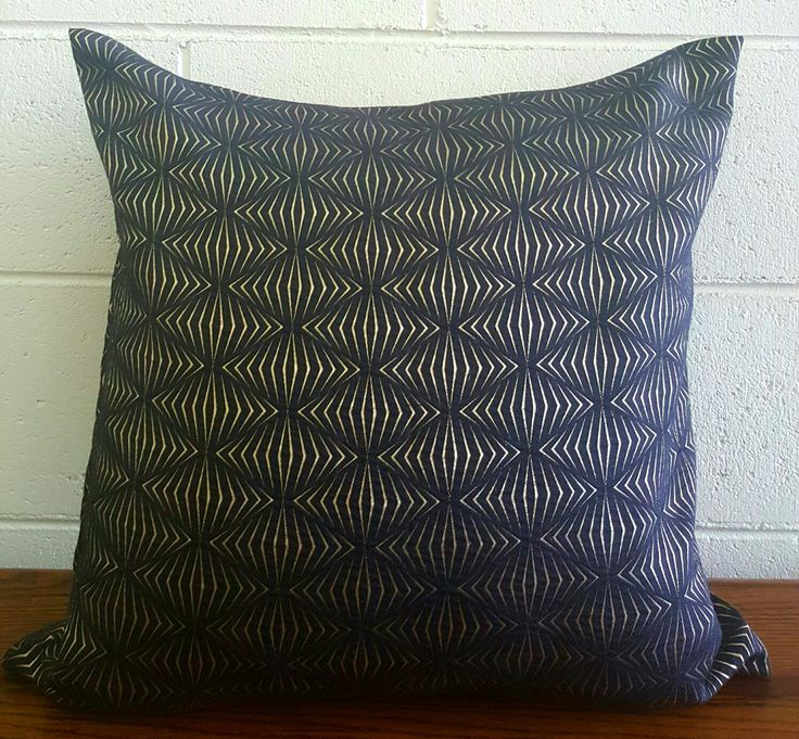 Silk Blend Art Deco Black and Gold Inspired Design Exclusive Cushion Pillow Cover by Peacock and Penny. 50cms x 50cms by PeacockandPenny on Etsy