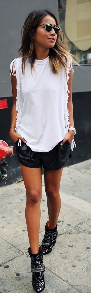 White Fringed Tank Front Leather Shorts Black Western Booties #Fashionistas