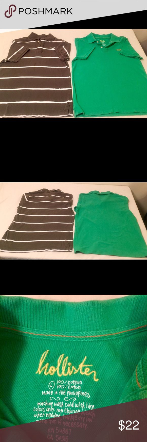 Hollister and Hollister California Polo Shirts. Two Large 100% Cotton Polos. Brown has small  not to noticeable spots on front. Green has a small fade spot on front. Hollister Shirts Polos