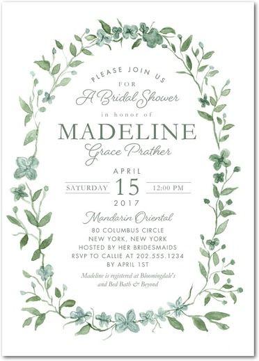 Ethereal Wreath - Signature White Textured Bridal Shower Invitations in Rosemary | Jenny Romanski