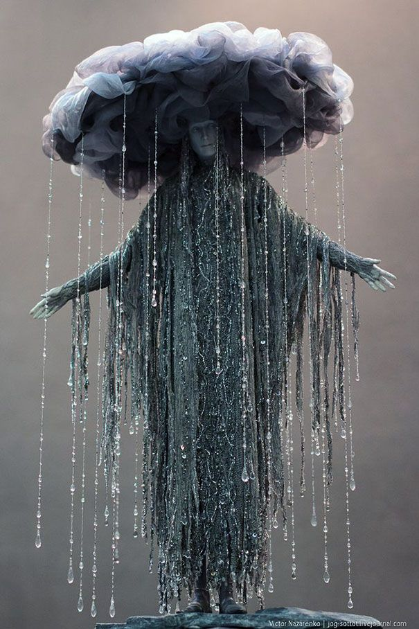 Fancy Rain Costume. The face is creepy, but I love the rest of it!