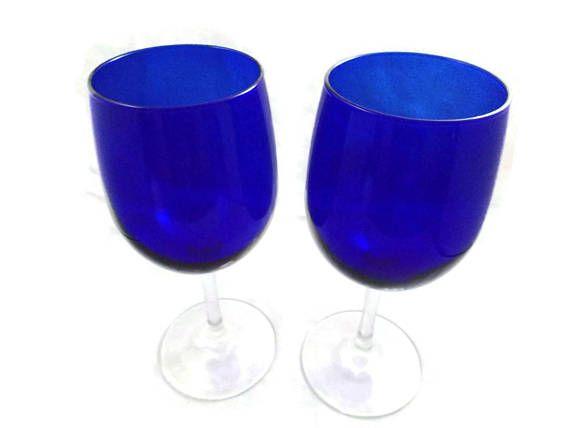 Set of 2 Vintage Cobalt Blue Wine Glasses in Pristine Condition