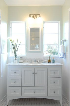 how to make an old bathroom vanity look new