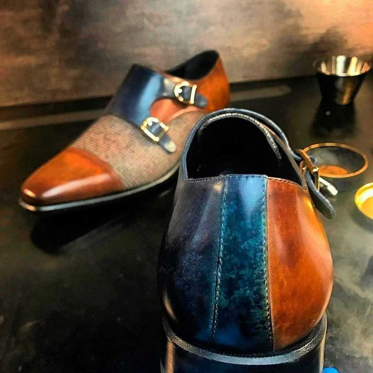 Double Monk    Hand Made Patina  Upper Materials:tweed sartorial + denim crust patina + cognac crust patina    Lining:black calf leather    Sole:cognac leather sole plain    Last:Monti - Classic Elegance with Slightly Square Toe    Featuring two straps coming across the upper, the double monk is the hottest shoe in men's fashion right now. This shoe is perfect for anyone looking for a modern twist on a classic, elegant style. Sole units (different available) are Blake stitched to uppers…