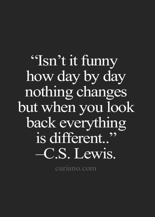 """Isn't it funny how day by day nothing changes but when you look back everything is different."" - C.S. Lewis"