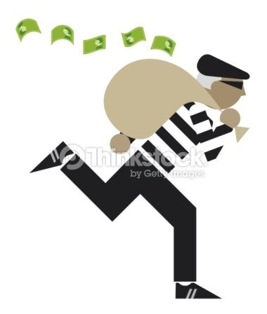 Stock Illustration : Digital illustration of bank robber escaping with sack of money