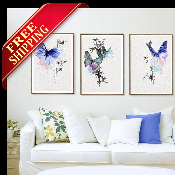 Butterfly Art Print Room Decor#blue#butterfly#gift#idea#living#room#set#3#art#print#decor #wall#art#watercolor#painting#drawing#picture#home