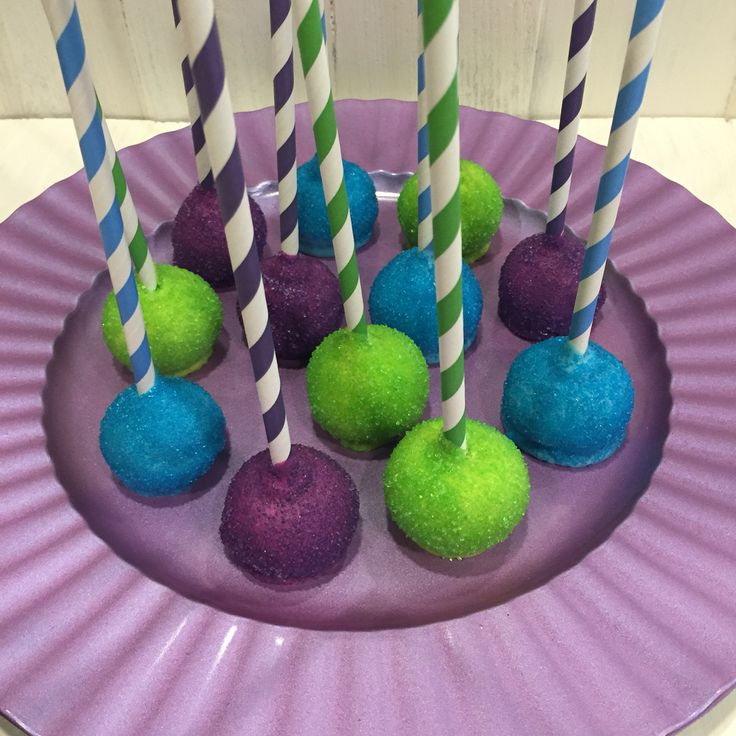 Monsters Inc cake pops!