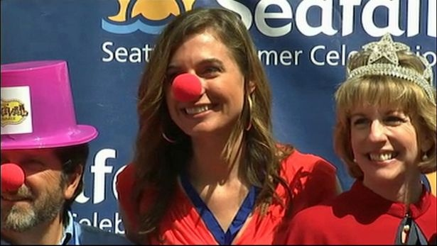 Jenni Hogan channels her inner clown at the Seafair 2012 kickoff ceremony: Guns And Roses
