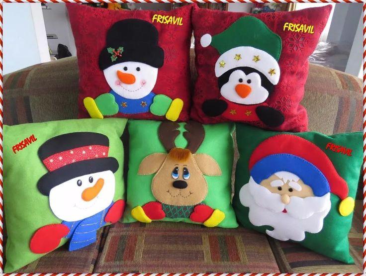 manualidades navideñas frisavil Cojines con varios diseños