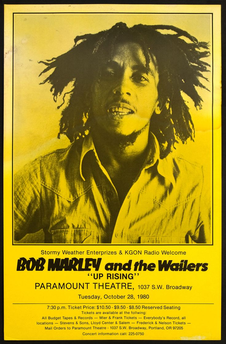 "Bob Marley: Bob Marley and The Wailers ""Up Rising,"" Concert Poster - Paramount Theatre: Portland, Oregan (1980)"