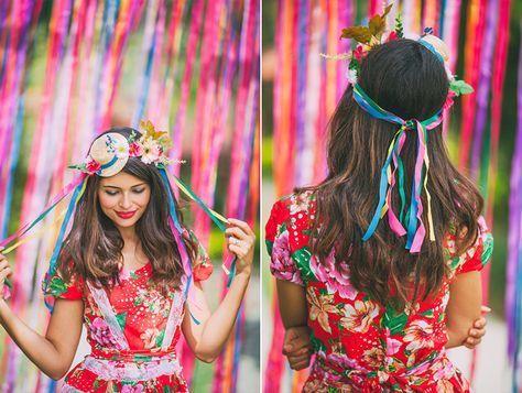 Festa Junina, look diy, coroa da flores, faça você mesmo, chapéu com fitas