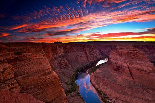 sunset: Clouds, Arizona Usa, Desert, Red Rocks Canyon, Artworks, Beauty Sunsets, Colorado Rivers, Horseshoe Bend, Grand Canyon