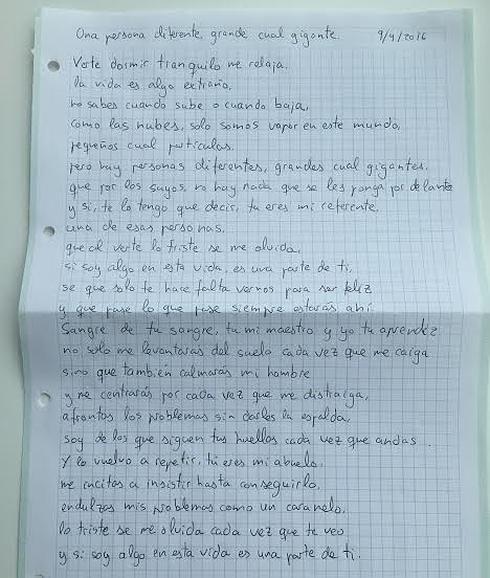 La emotiva carta de un nieto a su abuelo hospitalizado