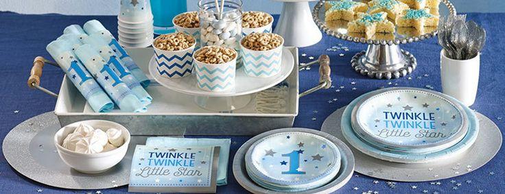 1e Verjaardagsversiering JongenTwinkle Twinkle Little StarTwinkle Twinkle Little Star 1 jaar blauwefeestartikelen speciaal voor de1e verjaardagvan je zoon. Met onze vrolijke lijn 1e verjaardagversieringvoor een jongenin blauwen zilver,vier je zijnverjaardag als een stoere vent!
