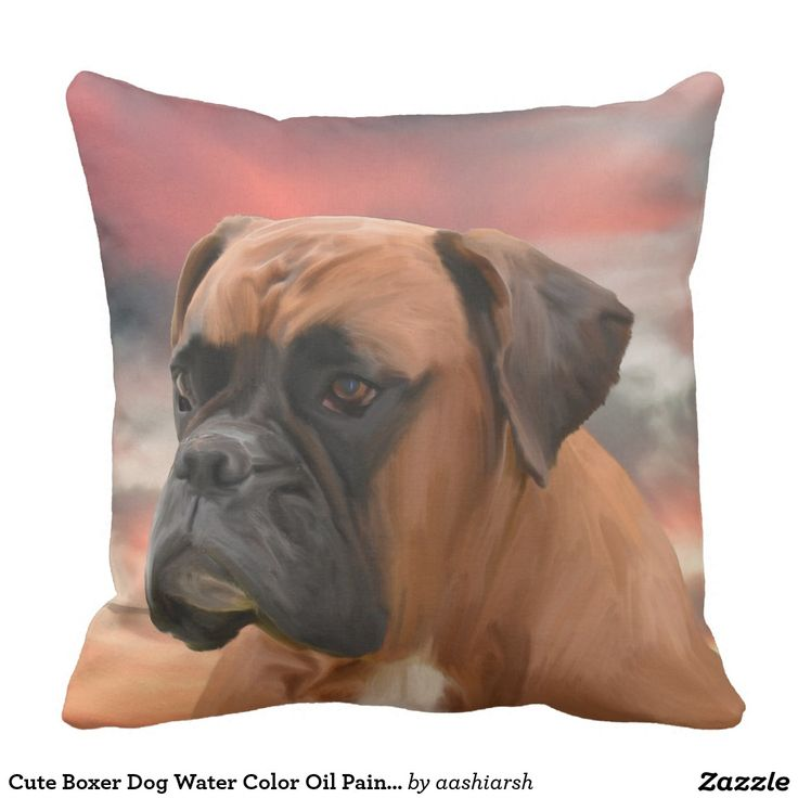 #Cute #Boxer #Dog Water Color Oil #Painting #Art #Pillow #animal