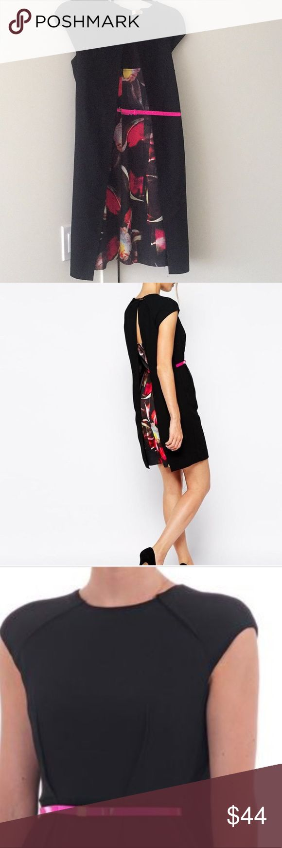Ted Baker classic and hot dress This dress has a wow factor with its elegant simple front and surprisingly colorful and sexy back. Perfect for a smart function. Not just another black dress! Ted Baker Dresses Mini