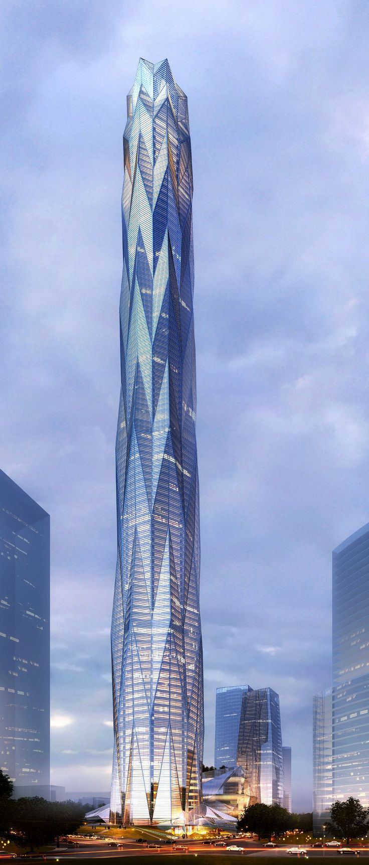 The Chengdu Greenland Tower by Adrian Smith + Gordon Gill Architecture, stands as a 1,500-foot, supertall, mixed-use tower in Chengdu, an up-and-coming weste...