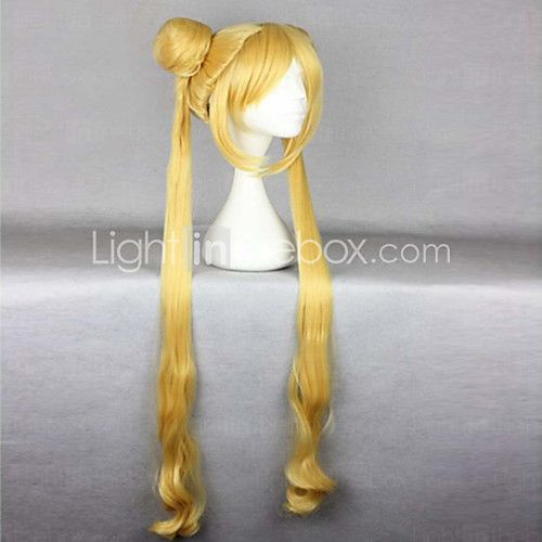 Hot Sell High Quality Heat Resistant 100cm Cute Golden Curly Wavy Women Cosplay Sailor Moon Wig  Long Pigtails - USD $27.26 ! HOT Product! A hot product at an incredible low price is now on sale! Come check it out along with other items like this. Get great discounts, earn Rewards and much more each time you shop with us!