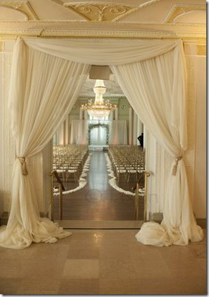 hang drapes in a doorway to fancy it up--I know this a wedding thing but I think it could apply to my room! (: