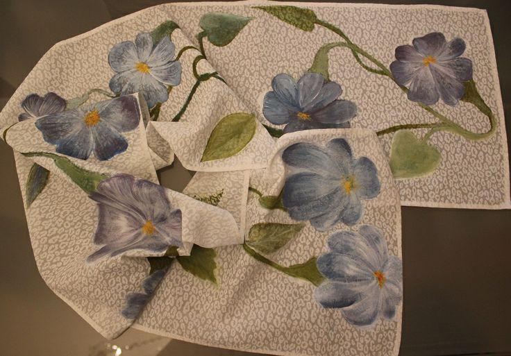 Handmade painted scarf