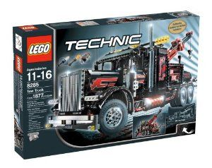 """LEGO Technic Tow Truck by LEGO. $1014.89. Tow Truck measures over 26"""" (66cm) long. Authentic model for skilled builders. Open the hood to see the detailed engine and spinning radiator fans. Pump the pneumatic cylinder to lift the telescoping boom and Turn the wheels to see the realistic V6 engine pistons move. Includes building instructions to rebuild into a heavy load flat-bed truck and instructions for integrating Motor Set into the alternate model. Amazon.com              ..."""