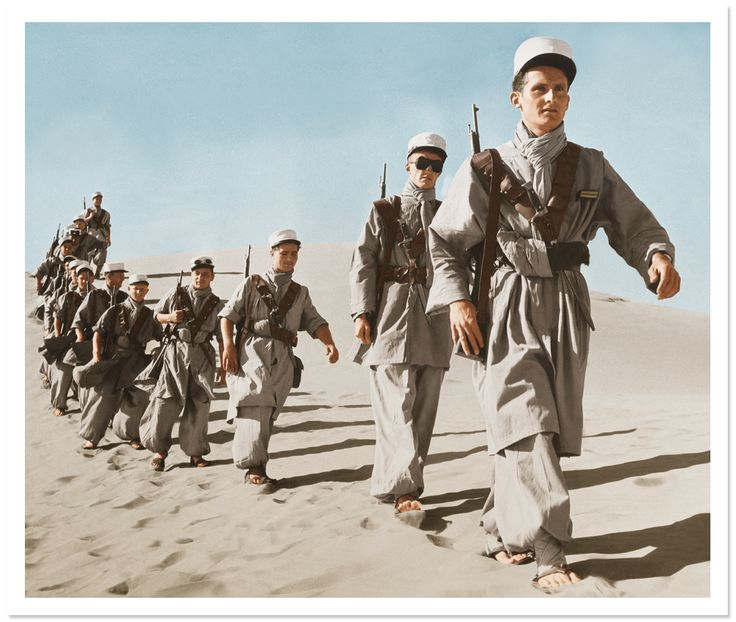 The French Foreign Legion in North Africa in the 1950s. In my book, Maillard and his father are both members - with tragic consequences. Image via Vanity Fair, from Gamma-Keystone/Getty Images. Digital colorization by Lorna Clark.