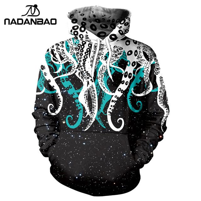 NADANBAO New Style Hiphop Hoodies Sweatshirts Galaxy Space 3D Printing Kawaii Octopus Pattern Autumn Hooded Women Hoodie Bts #Brand #nadanbao #sweaters #women_clothing #stylish_dresses #style #fashion