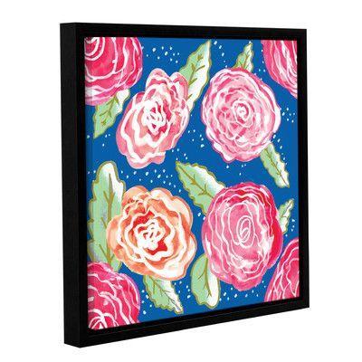 """Viv + Rae Roses on Blue Framed Art Size: 24"""" H x 24"""" W x 2"""" D"""