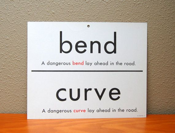 1 Giant Flash Card - Synonyms - Bend / Curve - Barren / Bare - Two Sided - 1966 Milton Bradley