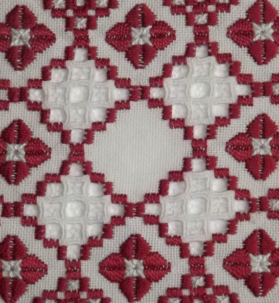 Hardanger Doily Hardanger Embroidery Square Red White by NordicAnn